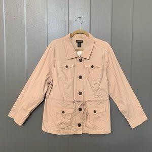 Lane Bryant Plus Tortise Button Utility Jacket 16